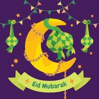 Moon And Eid Decorations vector
