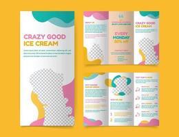 Ice Cream Shop Trifold Brochure template vector