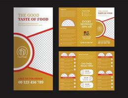Trifold brochure for food menu template vector
