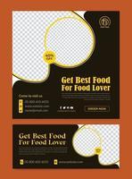 Restaurant fast food social media banner template vector