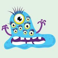 scary monster with teeth eyes vector illustration