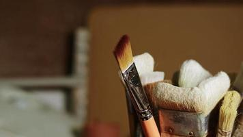 Brushes in a Ceramic Studio Workshop video