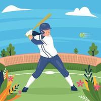 fondo de softbol de verano vector