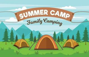 Summer Camp Family Background vector