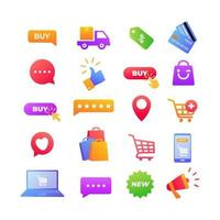 online shopping icons vector elements