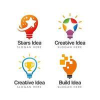 bulb idea logo icon design template vector