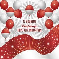 Indonesia Independence Day Background with Balloons and Paper Ornaments Composition vector