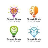Bulb and smart brain logo design template vector