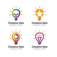 creative idea logo design template with bulb icon symbol design vector