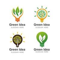 go green idea logo design template isolated on bulb vector