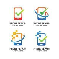 phone repair logo template vector