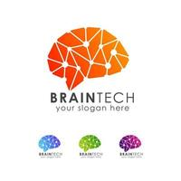 Brain tech logo icon design template vector