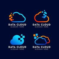 cloud tech logo design template vector