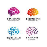 Digital brain logo icon design template vector
