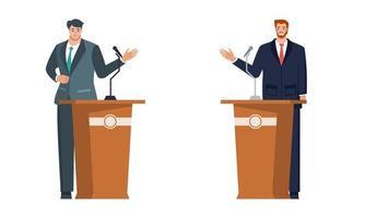 Men in Suit Having Election and Political Debate vector
