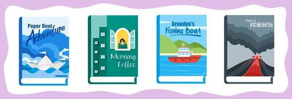 Novel or Fiction Books with Illustrative Cover and Title vector