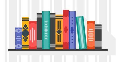 Standing Books in Bookshelf vector