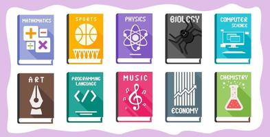 School Subject Textbooks Set with Illustrative Cover vector
