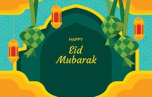 Eid Mubarak with Ketupat Background vector