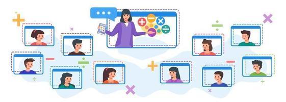 niños que asisten a clases en línea con maestra vector