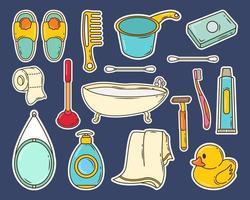 Set of hand drawn bathroom cartoon doodle sticker vector