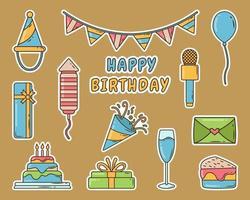 Set of hand drawn birthday party cartoon doodle sticker vector