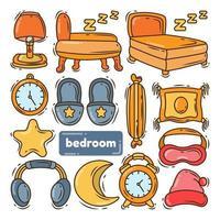 Hand drawn cartoon doodle bedroom collection vector