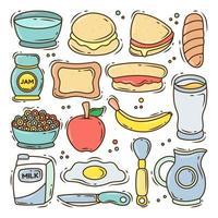Set of hand drawn breakfast cartoon doodle collection vector