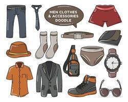 Set of hand drawn men clothes and accessories cartoon doodle design vector