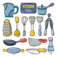 colección de herramientas de cocina dibujadas a mano estilo doodle de dibujos animados vector