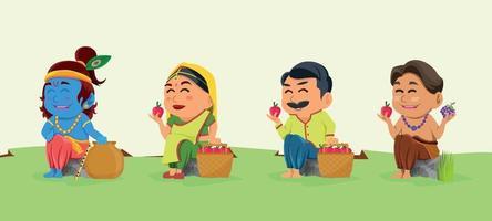 Festival Janmashtami Character vector