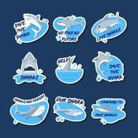 salvar al tiburón pegatinas vector