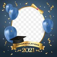 fiesta de graduación azul y oro vector