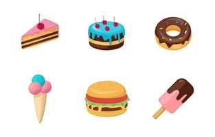 comida colorida e iconos dulces vector