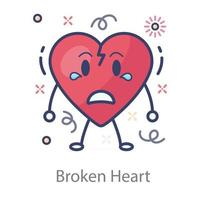 estilo corazón roto vector