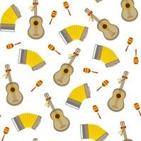 Seamless vector pattern with accordion guitar and maraca on white background. Perfect for wallpaper background wrapping paper or fabric