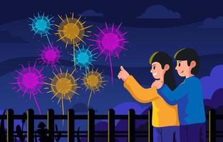 Couple Enjoying Firework vector