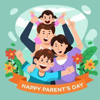 Cute Family on Parents Day vector