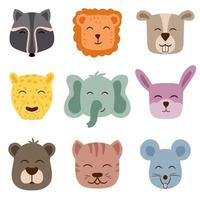 Cute vector animal faces Perfect for creating patterns for the childrens room