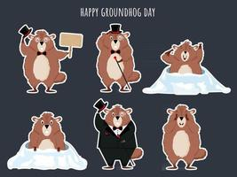 A set of funny cartoon groundhogs Vector illustration of the Groundhog Day holiday