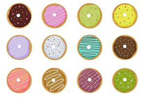 Set of donut elements cartoon style Vector illustration isolated on white background