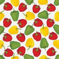 Vector seamless pattern with red yellow and green paprika Set of whole bell peppers