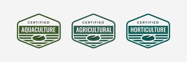 Certified badge logo design for agrotechnology or Agricultural technology company training badge certificates Vector icon agriculture business template
