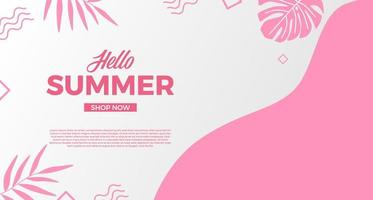 Basic RGBHello summer sale offer banner promotion with wave curve shape with memphis abstract style and leaves illustration vector