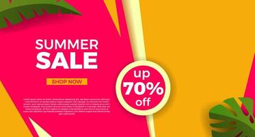 Hello summer sale offer banner promotion with abstract angles and leaves illustration vector