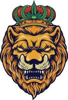 Head of Lion with Cannabis Crown Vector illustrations