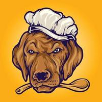 Chef Food Dog Mascot Illustration vector