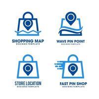 plantilla de vector de logotipo de pin de bolsa de compras en línea