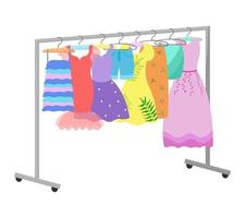 Dresses on a hangers. Different female clothing hanging. Casual and evening outfits for women Vector illustration
