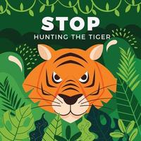 A Tiger is Staring Sharply Among the Foliage vector